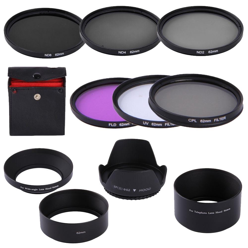 62mm CPL UV FLD ND2 ND4 ND8 Filtro de lente Kit de capucha para Tamron AF 18-250mm/18-200mm