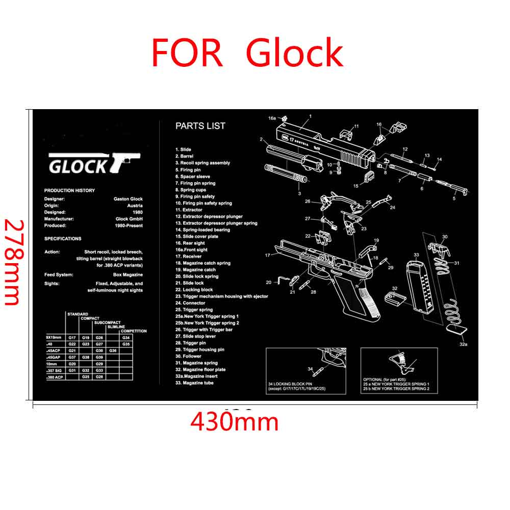 Alfombrilla de goma para limpieza de armas, accesorios tácticos Beretta 92 HK USP, alfombrilla de ratón para Colt 1911 Glock Mouse Mat AR15 AK47