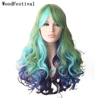 woodfestival women cosplay wigs synthetic wig with bangs wavy long hair pink red purple blue green brown rainbow colored female
