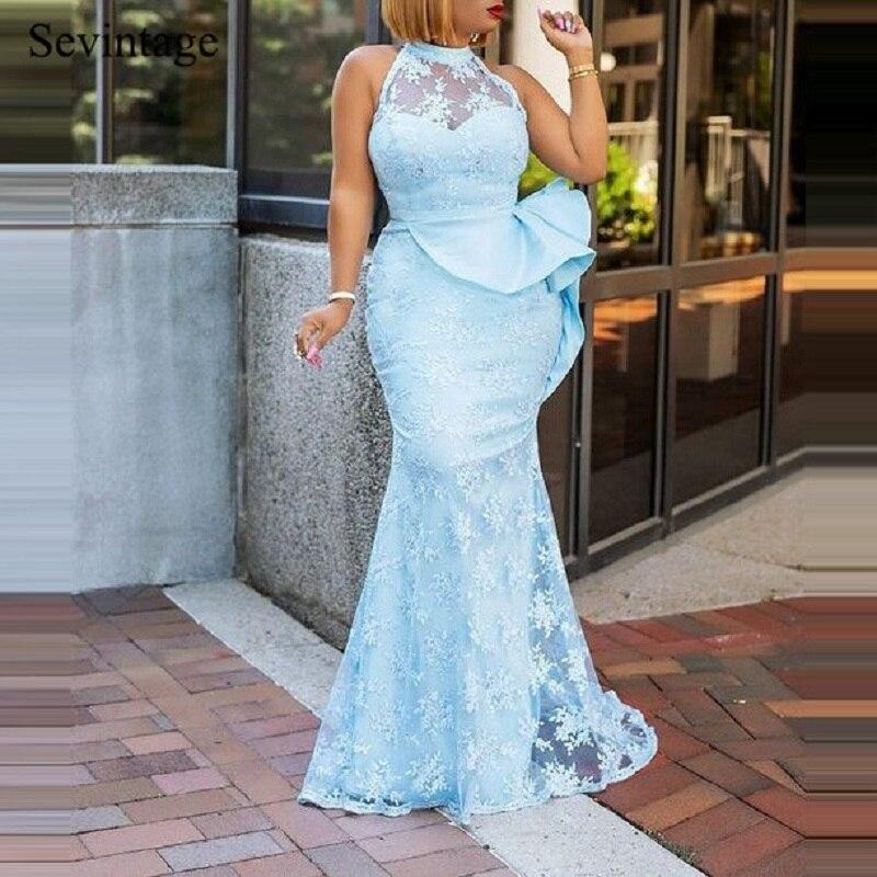Sevintage sexy sereia halter longo vestidos de noite tule cetim sem mangas formal vestido mulher plus size vestidos baile abendkleider