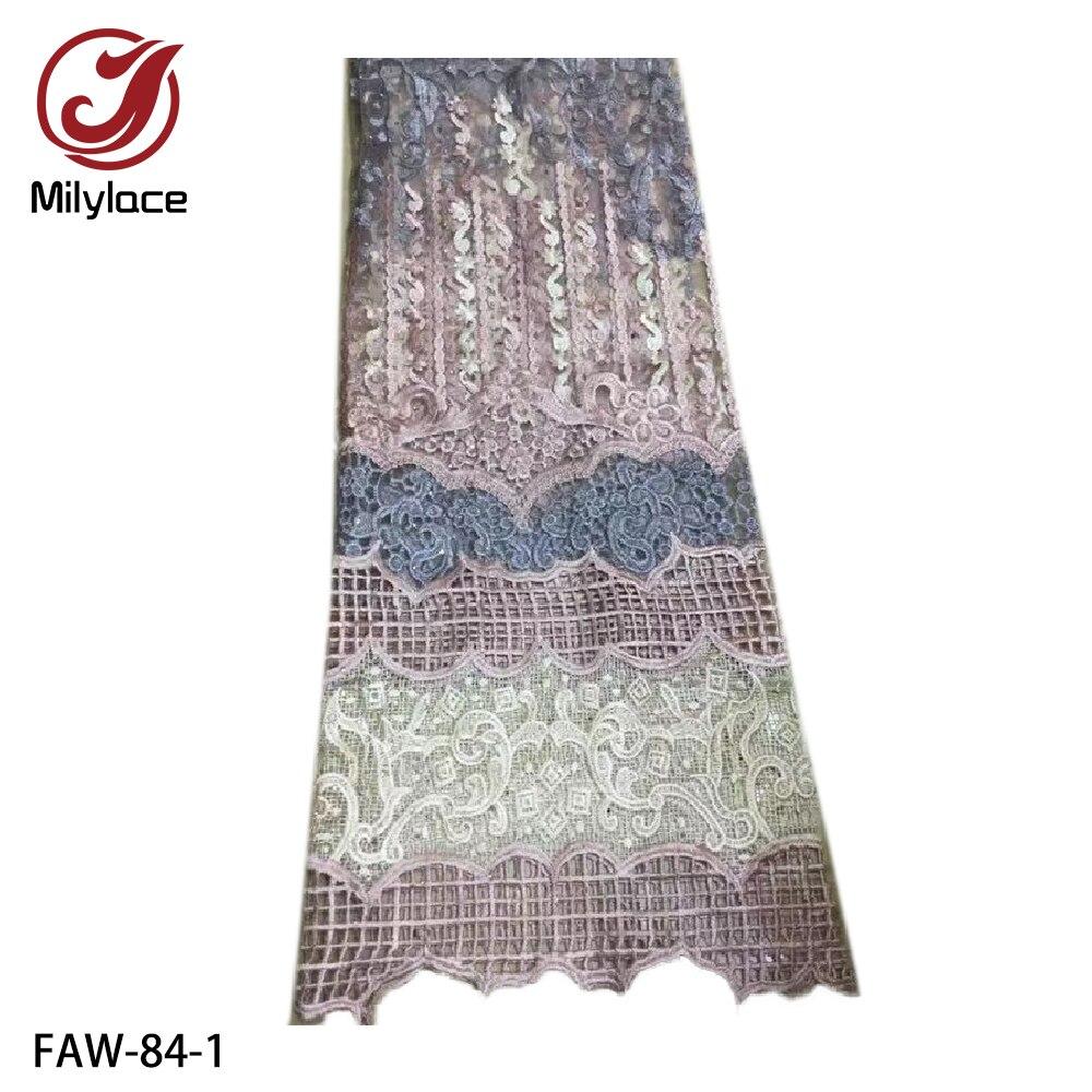 Nigerian Lace Fabrics 2019 High Quality Lace African Cord Lace Fabric French Tulle Lace Fabric for Wedding Dress FAW-84