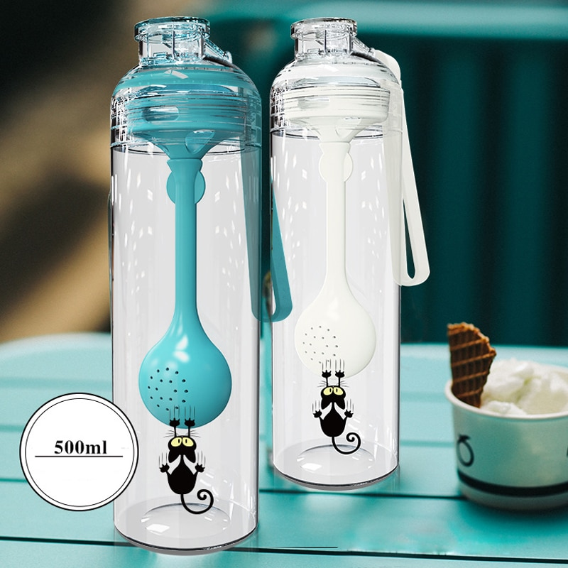 New Style 500ml Mutifunction Eco-Firendly Plastic Water Bottles With Rope Creative Lemon Teacup Port