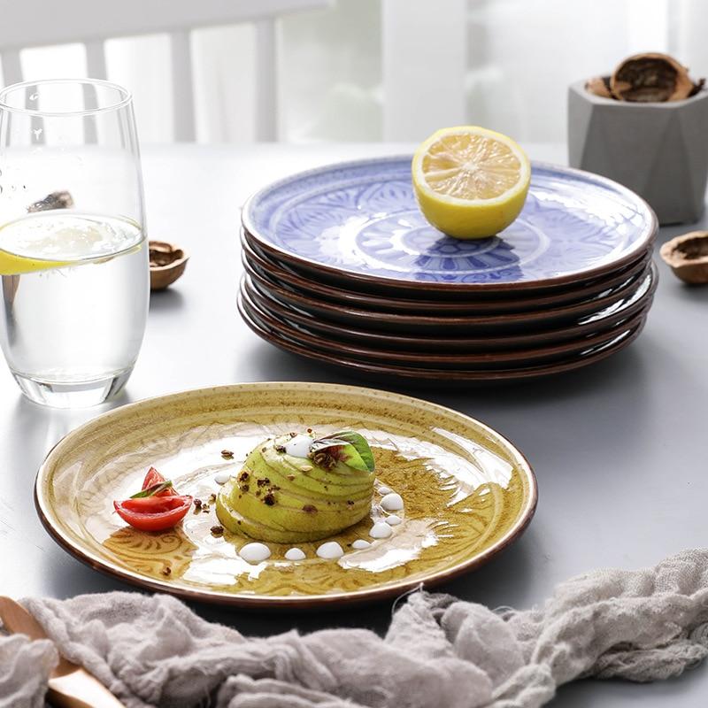 Plato de cerámica Floral de relieve sólido redondo de 18cm Bajo la flor de porcelana esmaltada plato de cena bandeja de postre de filete plato de aperitivos