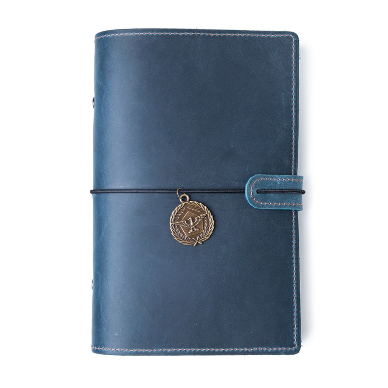 Genuine Leather A5 Agenda Organizer cover 2021 Crzay Horse Leather Planner with Sliver Rings Journal Notebook cover
