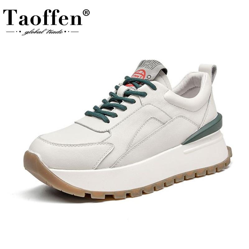 TAOFFEN ريال جلد النساء أحذية رياضية منصة الموضة حذاء كاجوال امرأة عبر حزام اليومية سيدة جولة تو الأحذية حجم 35-39