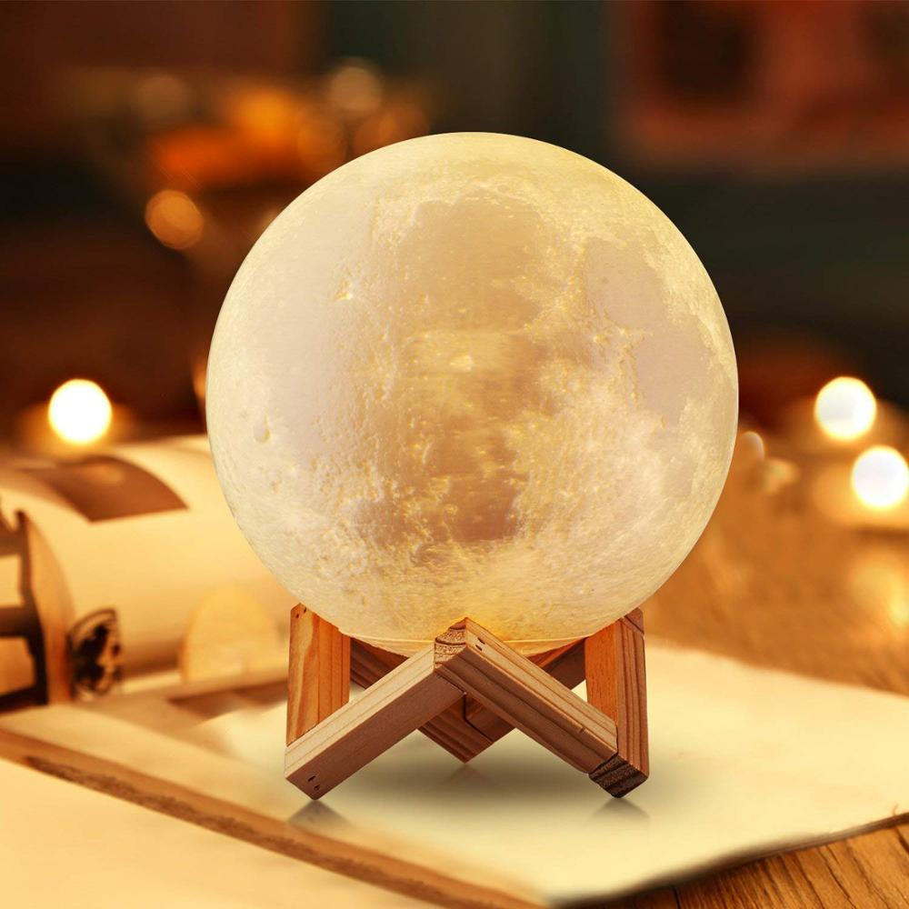 Moon Globe 3D print moon lamp touch control 2 colors night light creative gift family bedroom decora