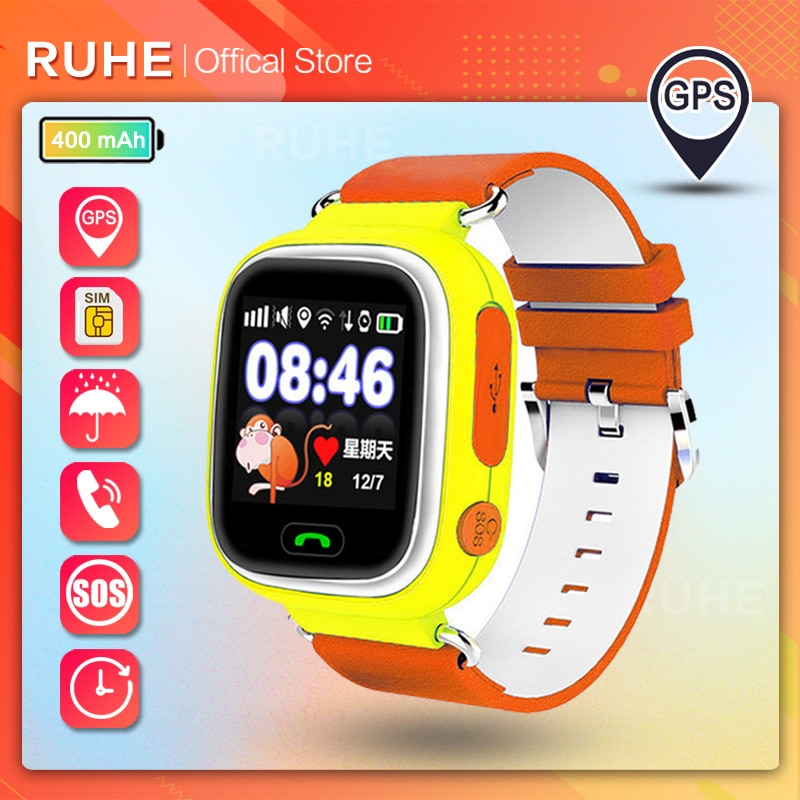 smart watch kids gps wifi Phone Position Kids Watch SOS 1.22inch Color Touch Screen Smart Baby Watch Q90 Child gift