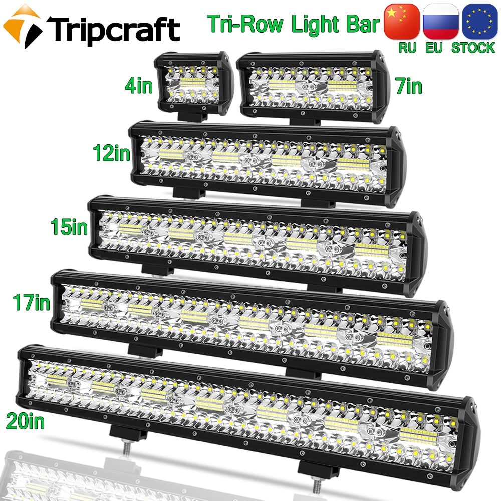 Tripcraft 3Rows LED Bar 4-28 inch LED Light Bar LED Work Light combo beam for Car Tractor Boat OffRo