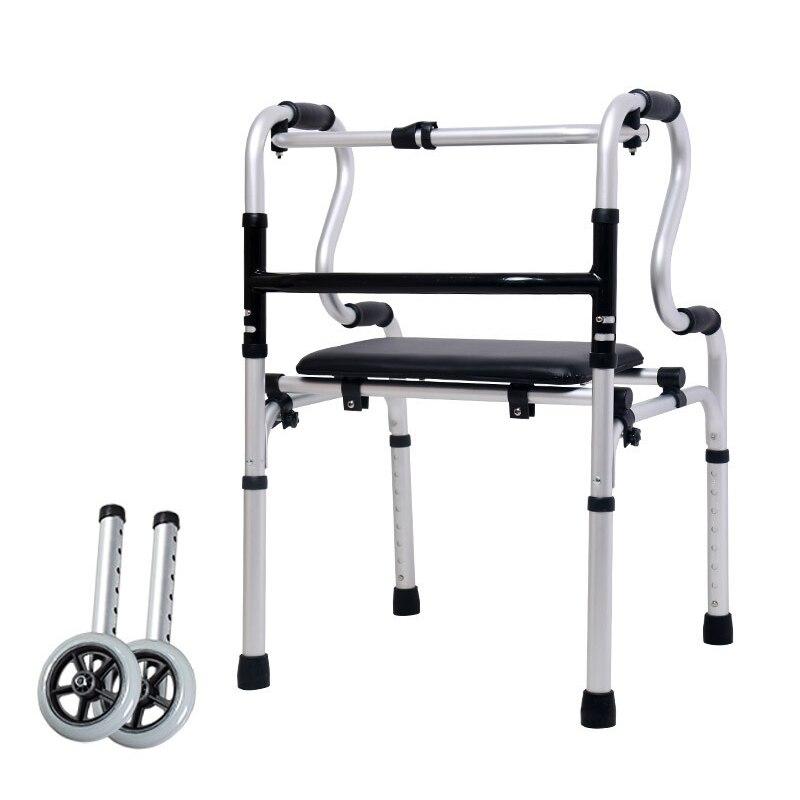 مشوا لكبار السن 2 عجلات قديم ووكر سبائك الألومنيوم جهاز للمساعدة على المشي الجلود قاعدة لوحة التأهيل المشي التدريب