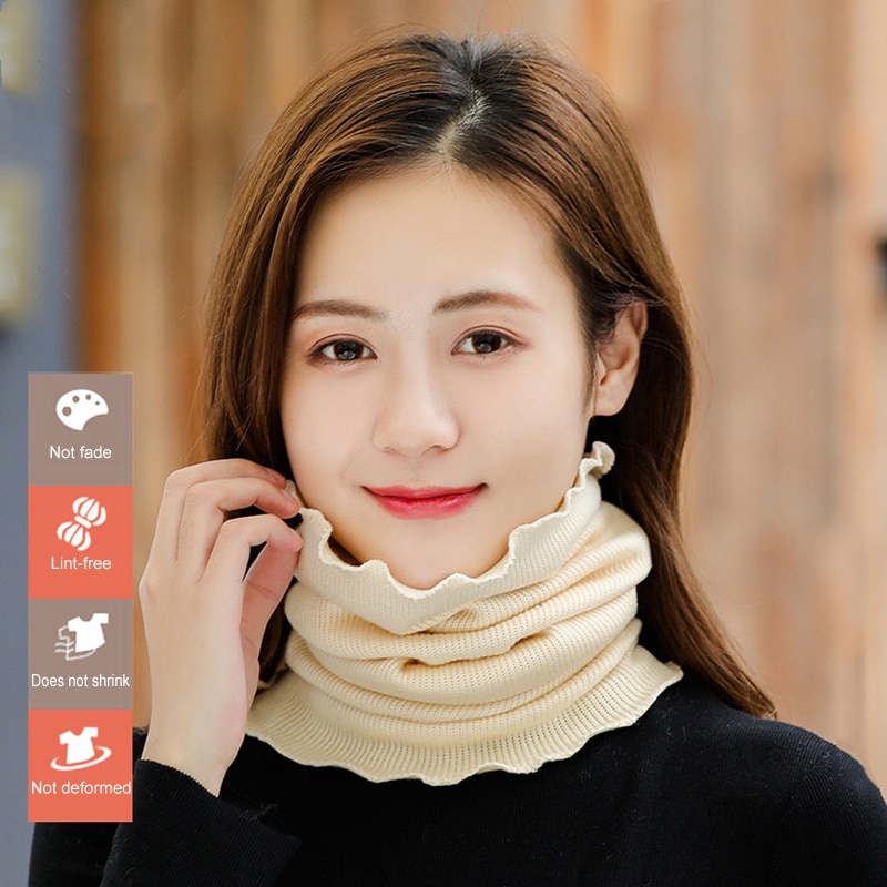 Women Knitted Neck Warmer Scarf UV Protection Windproof Warm Neck Gaiter Spring Autumn Winter SDFA88