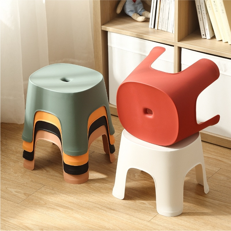 Household Bathroom Plastic Children's Stool Thickened Anti-slip Shoe Changing Stool Kid's Stepping Bench Stable Bedside Stools