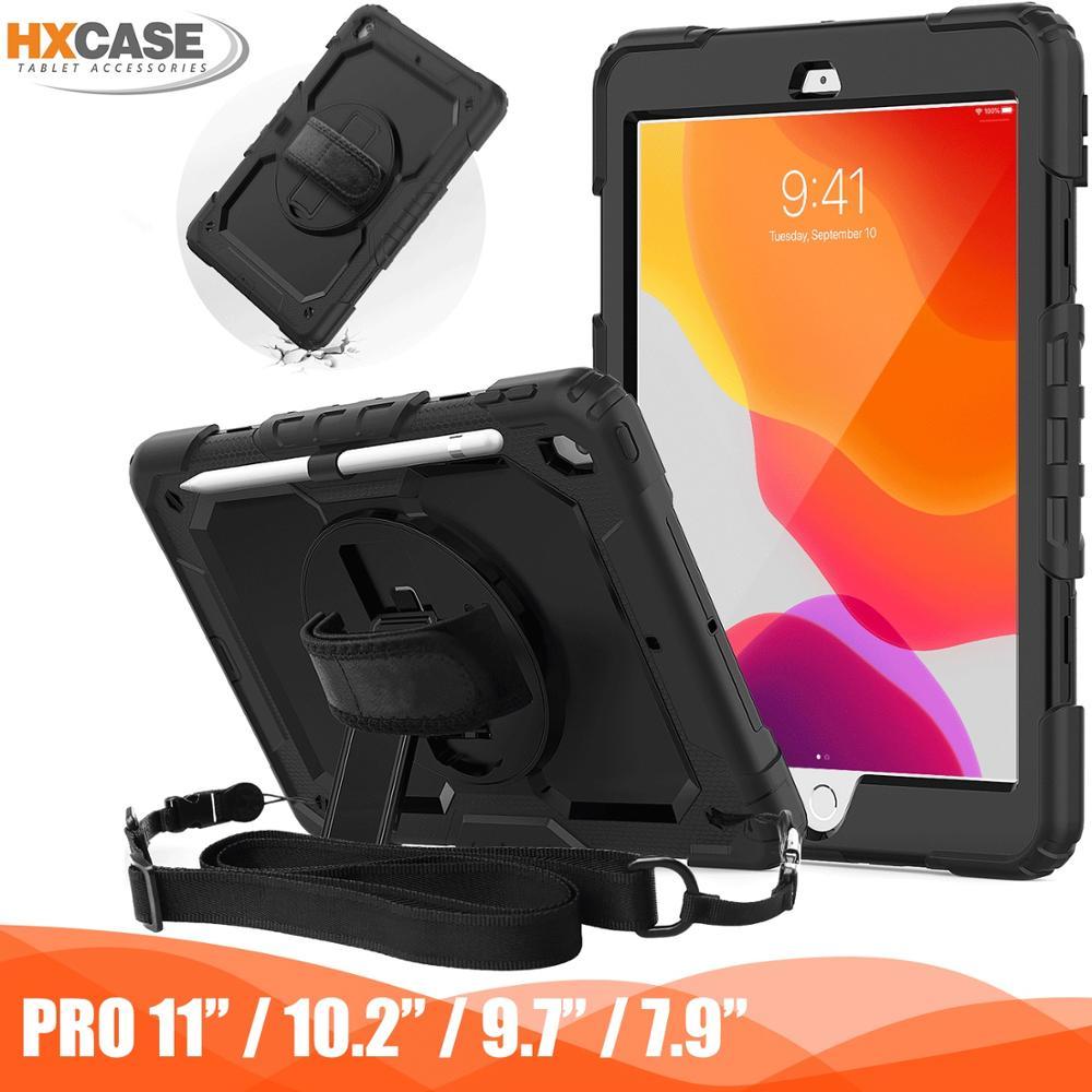 Capa protetora para ipad pro 11 caso/7th gen/mini 5/4/5th/6th gen 9.7 360 rotação alça de mão & kickstand capa para ipad ar 2