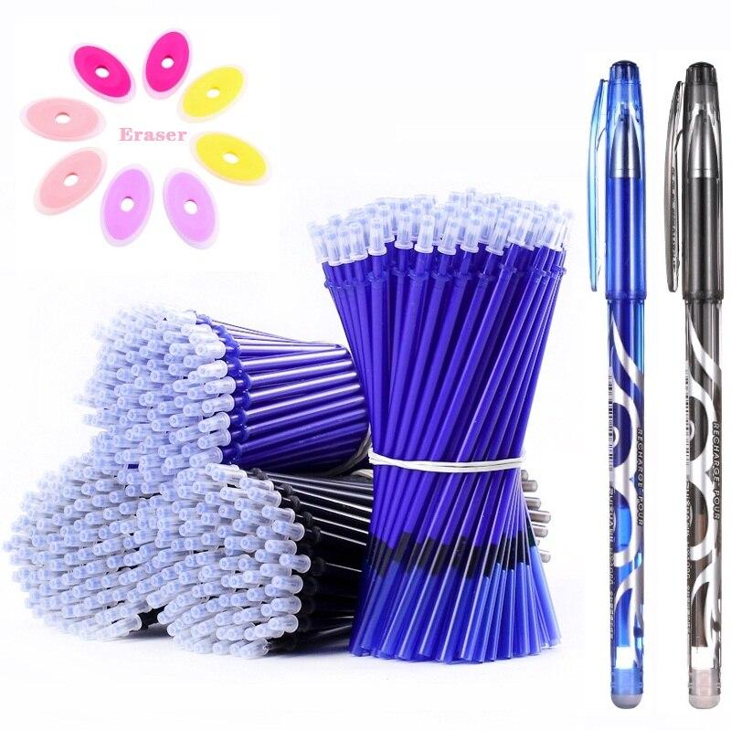 Pluma borrable conjunto lavable con tinta azul y negra bolígrafo de Gel de escritura Rollerball bolígrafos para la escuela suministros de papelería de oficina 040280