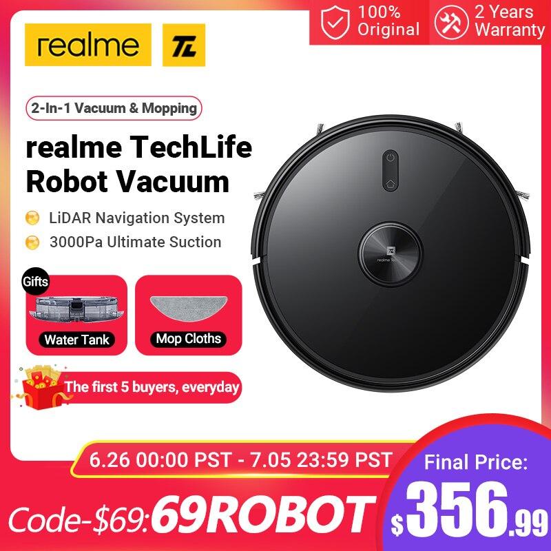 Realme TechLife – aspirateur Robot 2 en 1 pour balayage et nettoyage humide des sols, aspiration 2021 Pa, Navigation Laser LIDAR pour la maison, nouveauté 3000