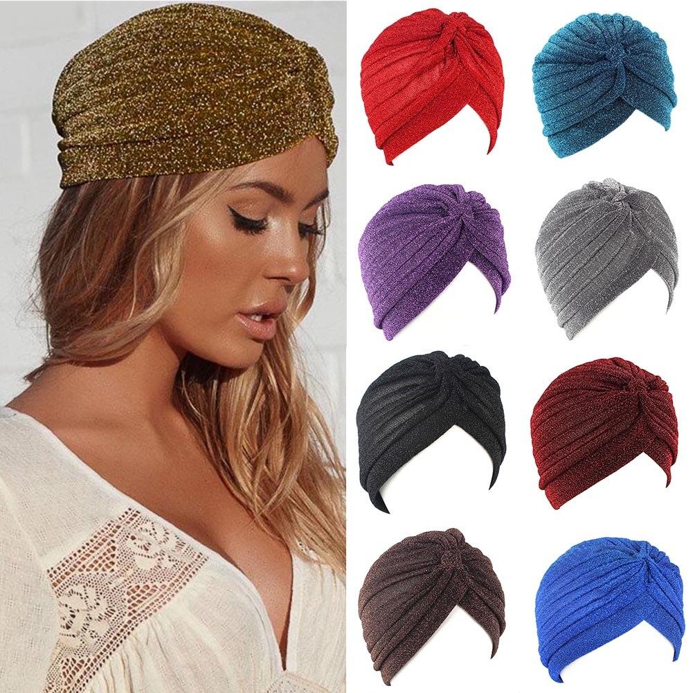 Gorro turbante anudado Twist, Hijab musulmán brillante a la moda para hombre y mujer, pañuelo para la cabeza dorado y plateado con purpurina, sombrero informal de Color liso indio