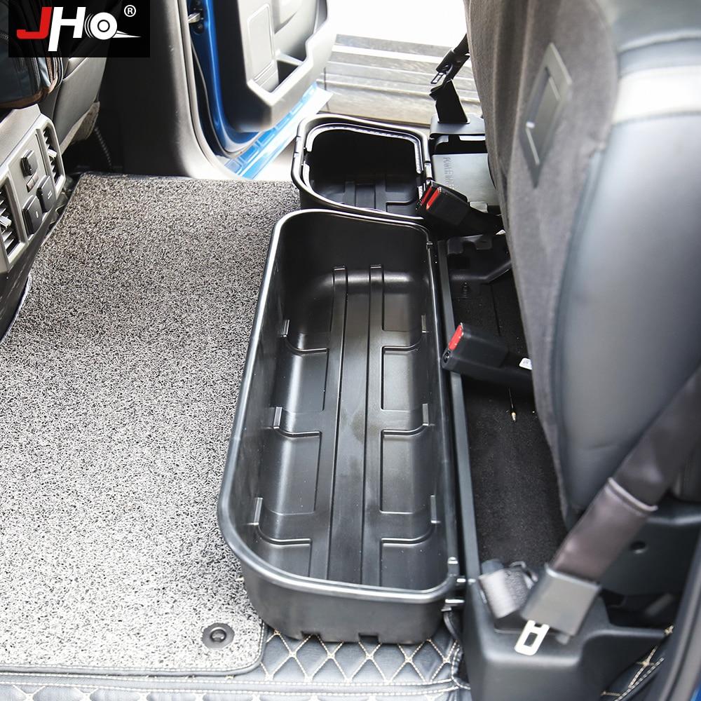 JHO اكسسوارات السيارات المنظم الصف الخلفي صندوق تخزين تحت المقعد لفورد F150 رابتور 2017-2020 2019 2018 4-door طاقم الكابينة