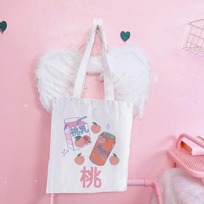 Bolsos escolares coreanos japoneses estéticos para estudiantes, bolsos De moda para mujeres, tela De lona, Bolsa De mano reutilizable ecológica, Bolsa De Compras