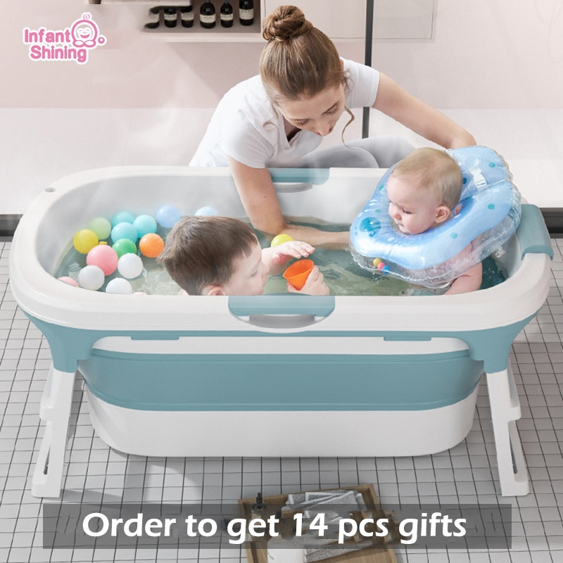 Infant Shining Folding Baby Bathtub 0-15Y Baby Bath Tub Adult 1.1m Bath Barrel Massage Large Household Plastic Folding  Bathtub