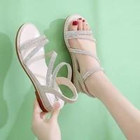 women summer sandals rhinestone round toe pu leather elastic band open toe flat 2021 fashion roman dress beach ladies shoes