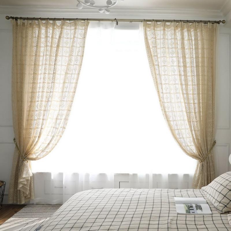 Rideaux en dentelle pure pour chambre à coucher, tentures ajourées, tentures délicates pour la cuisine, pour Table, M181D