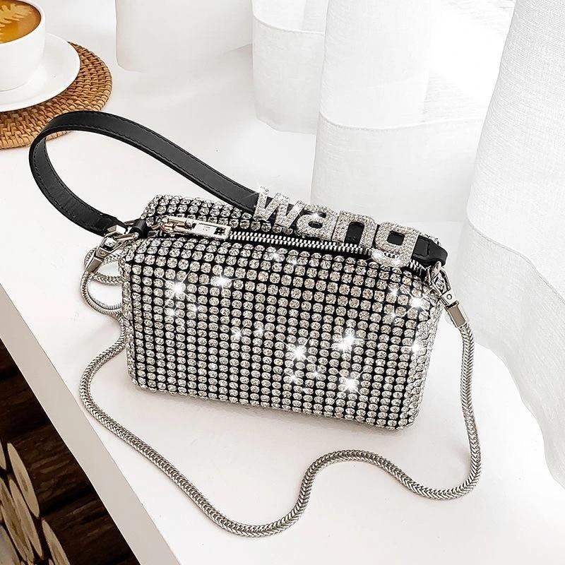 نساء الماس المتشرد حقيبة ل 2021 الإناث مخلب تصميم العلامة التجارية الفاخرة حقائب كتف حقيبة يد جلدية بو لامعة المتشرد حقيبة حقيبة ساعي