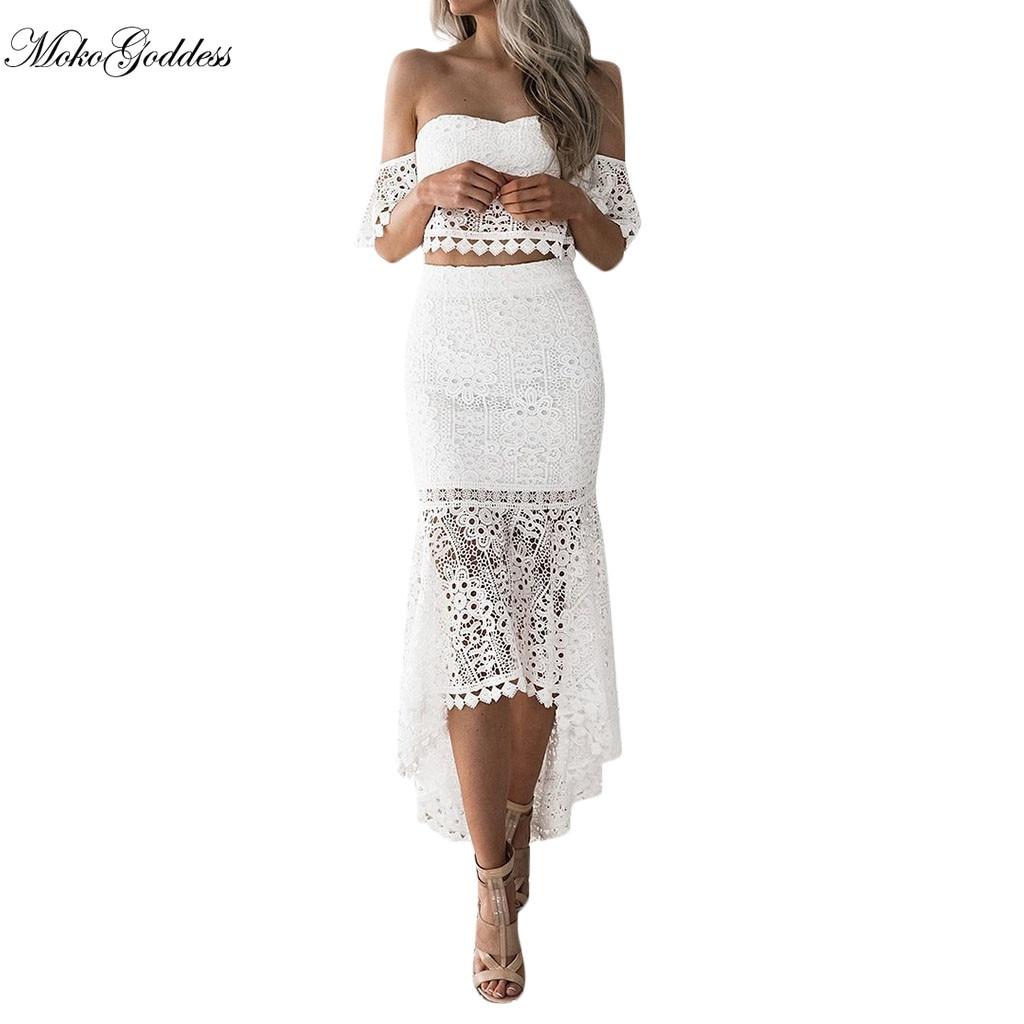 Moko verano vestido blanco de encaje entallada sin tirantes espalda descubierta Irregular lápiz vestidos elegantes mujer fiesta noche verano vestido 2019 nuevo