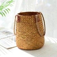 flower basket garden rattan wovenhand woven grass flowerpot living room decoration bamboo balcony cestas de mimbre decorat