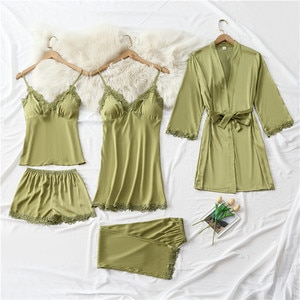 Sleepwear 5PCS Pajamas Set Lady Pijamas Lace Patchwork Nighty&Robe Suit Intimate Lingerie Sexy Strap Top&Shorts Loose Home Wear