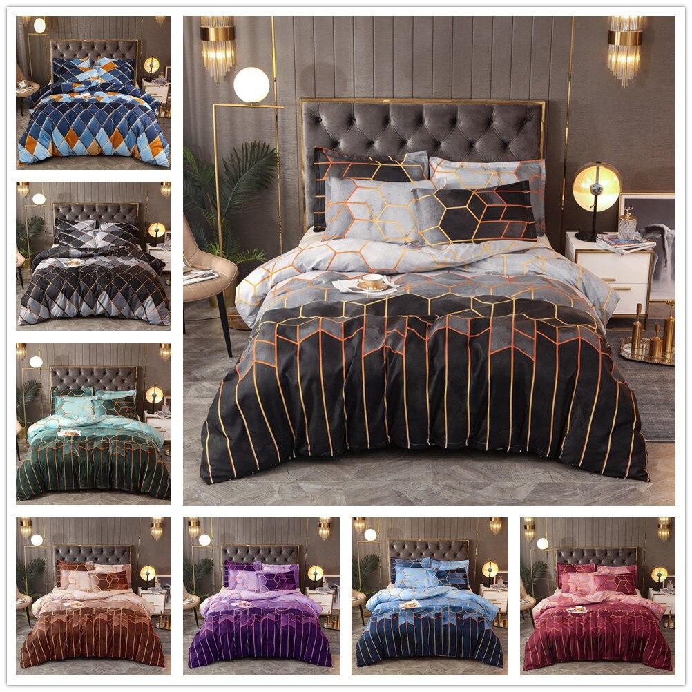 الذهب خط هندسي الماس اللون شبكة غطاء لحاف المخدة طقم سرير (أغطية سرير غير المدرجة)