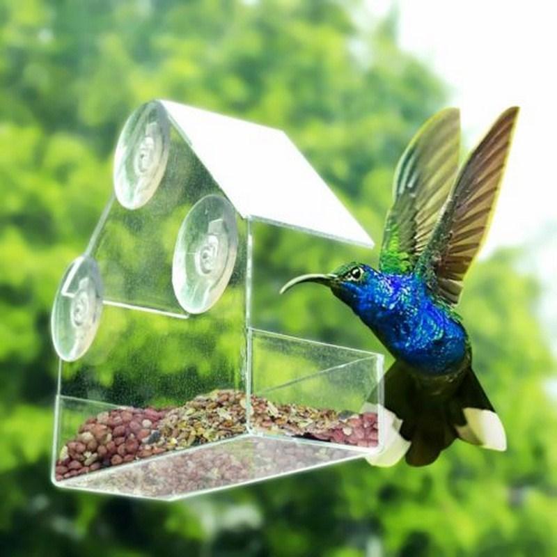 Contenedor alimentador de pájaros ventana duradera y transparente colgando con 3 ventosas Extra grandes Tipo de aire libre comedero de plástico para pájaros