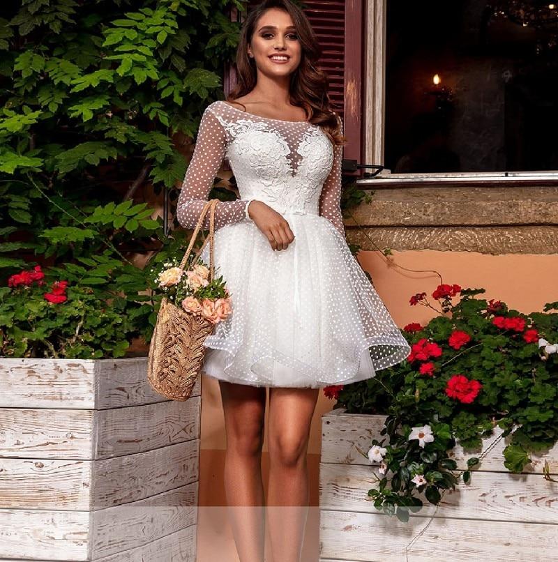 Vintage De encaje Corto Vestido De boda De playa 2021 Vestido De...