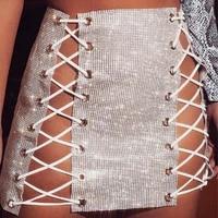 3 colors high waist eyelet lace up mini skirt women rhinestone diamond hip sequin skirts sexy party club hot festival wear
