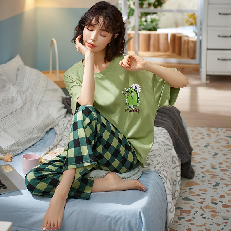 ATUENDO Summer Fashion Green Pajamas Sets for Women Atoff Home Satin Silk Lounge Sleepwear 100% Cott