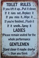 metal tin sign toilet rules warning sign bar cafe garage wall decor retro vintage 7 87 x 11 8 inch