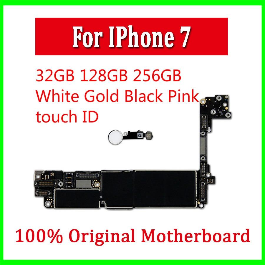 Placa base para iPhone 7, Original desbloqueado, 32gb / 128gb/256gb, con IOS, 7 placas Logic con/sin ID táctil