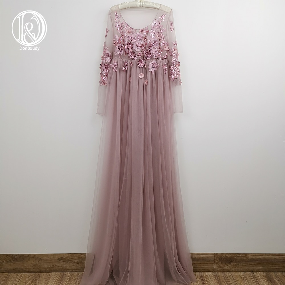 3D Floral Embroidery Maternity Dress Party Evening Gown Tulle Dress for Photo Shoot Studio Photography Woman Clothes Baby Shower