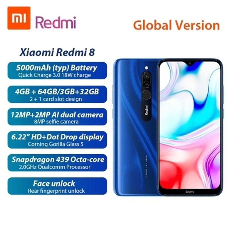 Оригинальный Xiaomi Redmi 8 глобальная версия смартфон 4 Гб 64 Гб 6,2 полный сенсорный экран HD 4 камера распознавания лица Snapdragon CPU
