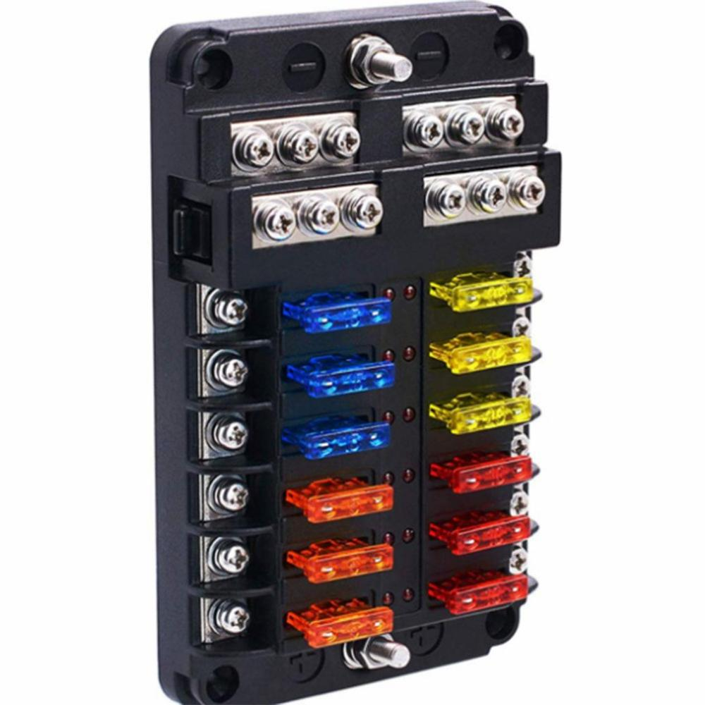 12-Way Car Fuse Box 6 In Out Universal Automative With Led Indicator Portable