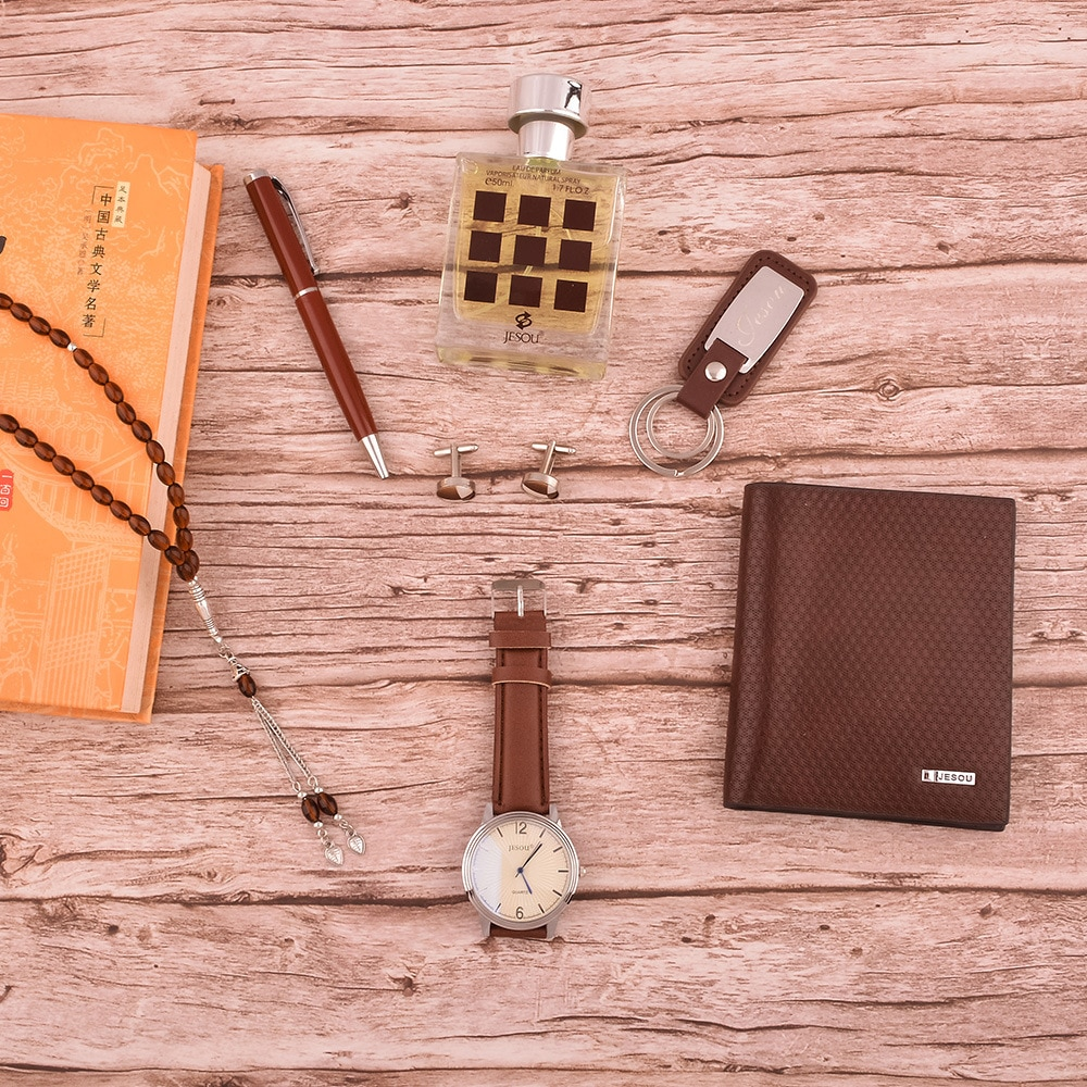 Men's Boutique Gift Set Belt + High-end Wallet + perfume bottle + Rosary + Cufflinks + Key Chain + Quartz Watch enlarge