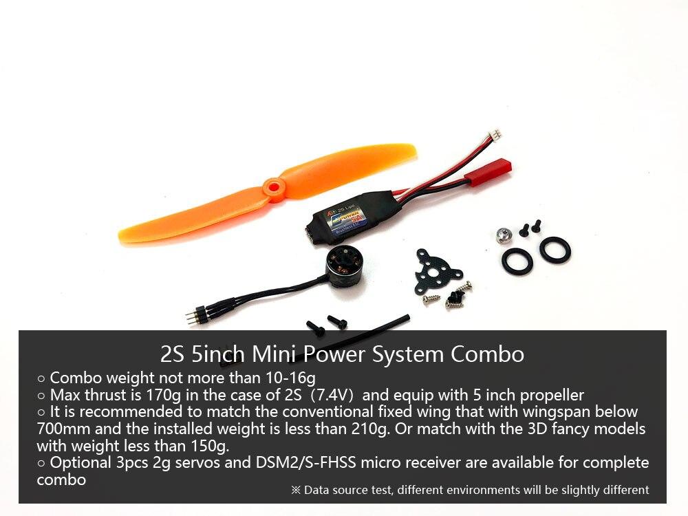Micro alimentador sistema combinado 2S con Motor 1106/1108, ESC, Servo, hélice para Wingspan por debajo de 700mm, peso de vuelo inferior a 210g