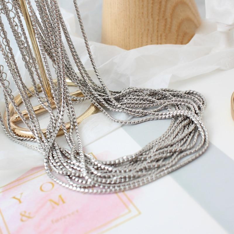 10 unids/lote, venta al por mayor, cadenas de collar de acero inoxidable que nunca se decolora, a granel, para DIY, accesorios de joyería, materiales, suministros hechos a mano