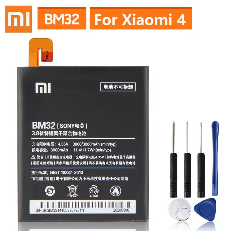 Original Ersatz Batterie Für Xiaomi Mi 4 M4 Mi4 BM32 Echtem Telefon Batterie 3080mAh
