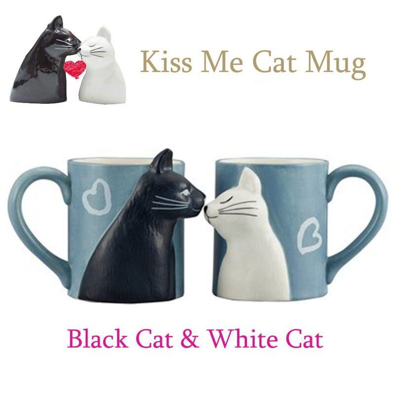 2 piezas de cerámica beso gato taza par tazas amante regalo mañana leche café té taza de desayuno Día de San Valentín para emparejar regalo
