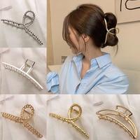 Женский металлический зажим для волос, элегантный ажурный зажим для волос геометрической формы, аксессуар для волос