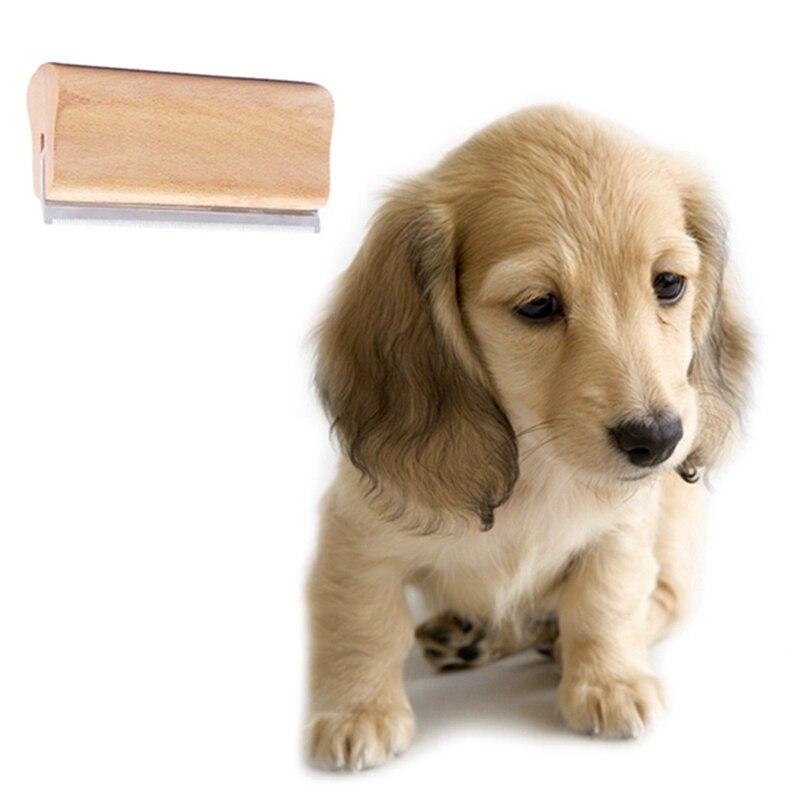 Peine de eliminación de pelo de mascotas, mango de madera maciza, peine de acero inoxidable para el cuidado de mascotas, peine para el pelo de perros y gatos