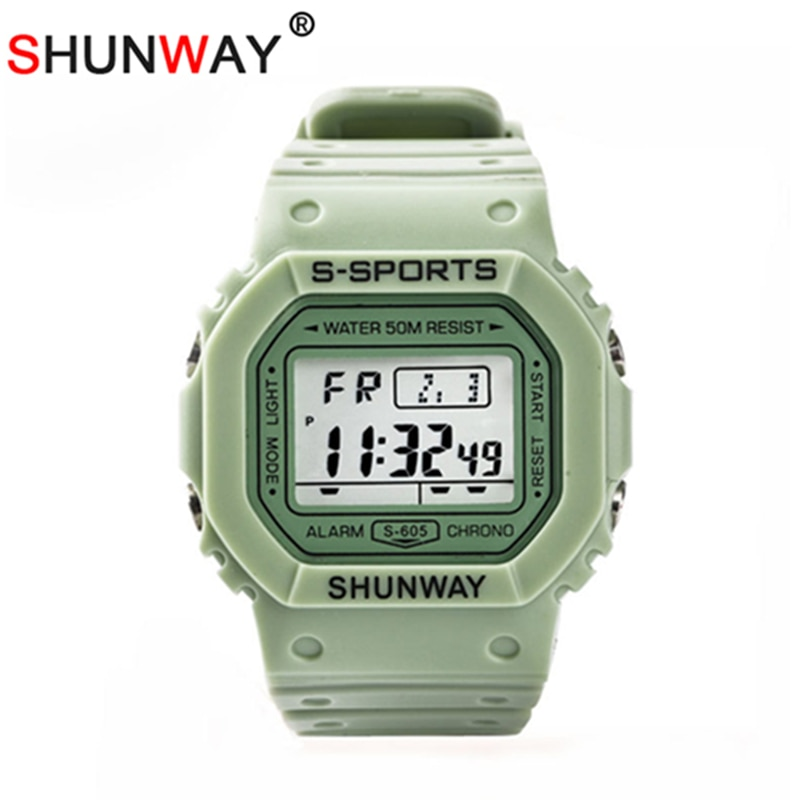 Digital Multifunction Sports Watches IP68 Waterproof Backlight Silicone Rubber Fashion Student Wristband Kids Clock Gift 605A