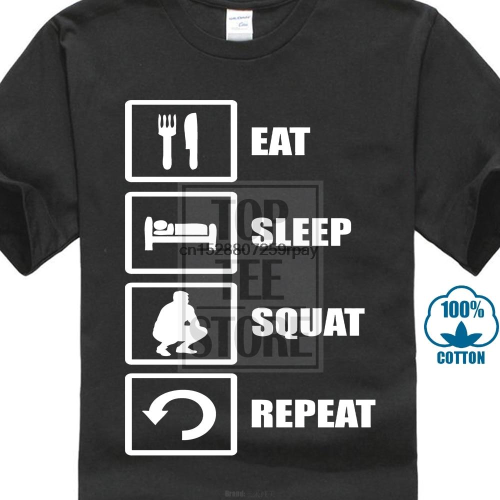 Eat Sleep Squat Slav Eastern Europe Meme hombres mujer disponible camiseta negro