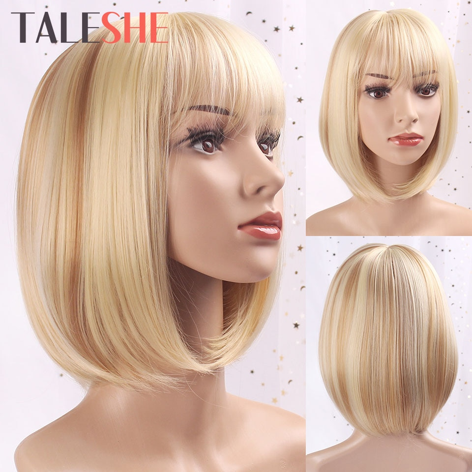 Taleshe branco feminino bob estilo reto sintético loira peruca curta com franja 10 polegadas perucas para feminino natural cosplay