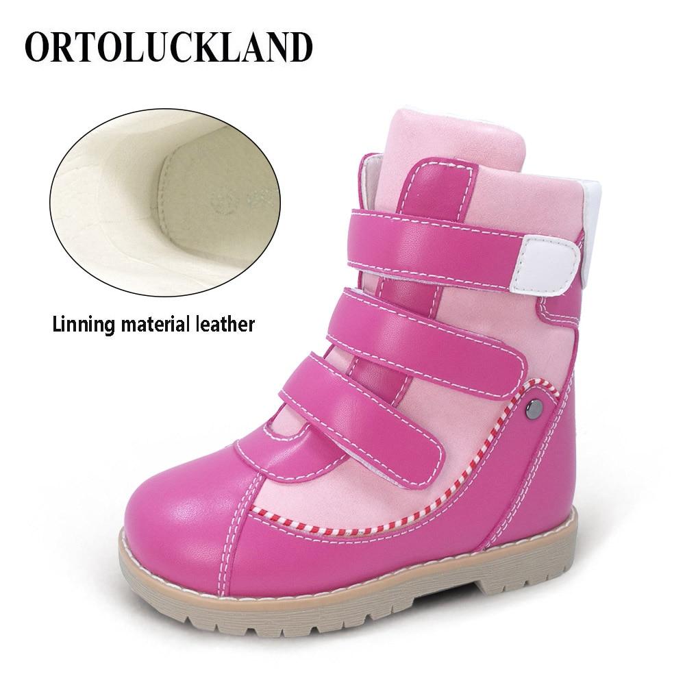 Botas de nieve ortopédicas para niños y niñas, zapatos de invierno correctivos de alta calidad, botas cálidas impermeables de microfibra con forro de cuero
