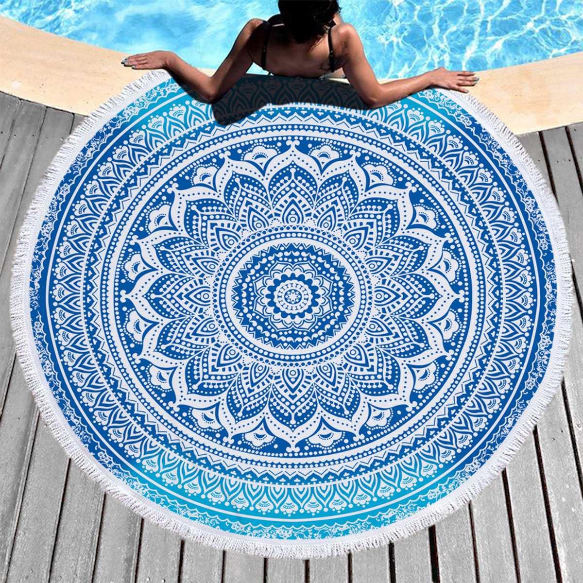 Toalla de playa redonda, tapiz de borlas estilo bohemio, colchoneta de Yoga con diseño de Mandala, mantel de viaje, Toalla de baño para natación 100/150cm
